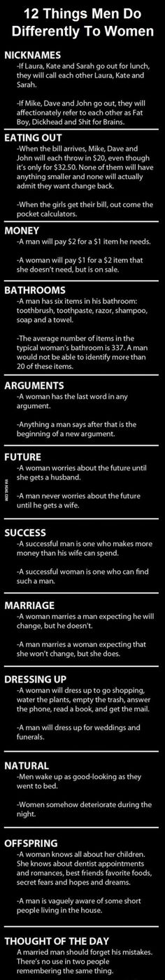 Homemade humour: 12 Main Things Men And Women Do Differently