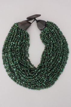 "Use polymer clay for ""cones"" and clasp.  80s Green Monies Necklace"