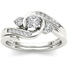1/2 CT. T.W. Diamond 10K White Gold 3-Stone Bypass Ring Set ($1,500) ❤ liked on Polyvore featuring jewelry, rings, round diamond ring, white gold diamond ring, three stone ring, diamond swirl ring and wedding set ring