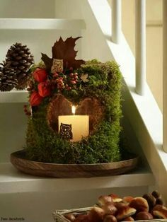 moss covered glass vase with candle