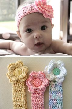 This Crochet Baby Headband post contains the most adorable free patterns we could find online! Plus a handy sizing chart to use, too. patterns baby girl Crochet Baby Headband Patterns and Easy Video Tutorial Baby Girl Crochet, Crochet Baby Clothes, Crochet For Kids, Free Crochet, Crotchet Baby Hats, Newborn Crochet, Knitted Baby, Easy Crochet, Crochet Crafts