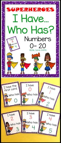 I Have Who Has   Math Game   Numbers to 20   PreK   Kindergarten   First grade