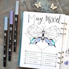 My first try with a geometric animal as a mood tracker ! This is actually before the pen I already filled in some shapes since I of course didn't manage to split the butterfly into exactly 31 sections . Hope you all have a nice Sunday! . . . #bulletjournal #moodtracker #bujo #filofax # #lettering #bulletjournaling #filofaxclipbojok #planner #planning #bujoinspo #bulletjournalgermany #journaling #planning