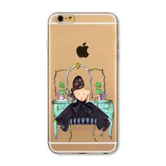 Case Cover For iPhone 6 6s 4.7inch Fashion Modern Sexy Dress Lip Shopping Hat Girls Painted Transparent Soft TPU Back Capa Cases