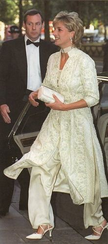 July 4, 1996: Princess Diana wore an ivory pearl-studded shalwar kameez to the Shaukat Khanum Memorial Hospital Cancer fundraiser at the Dorchester Hotel, London. The pantsuit, which was a gift from friend Jemima Khan, inspired her to commission similar Pakistani-inspired outfits from Catherine Walker.