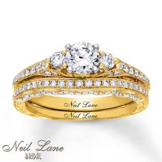 the style is nice and i like rings that fit into sets - engagement, wedding band etc all fitting together nicely. Wedding Sets, Gold Wedding, Wedding Bands, Neil Lane Bridal Set, Kay Jewelers Bridal Sets, Diamond Gemstone, Engagement Rings, Gemstones, Crystals