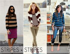 Stripes on stripes are pretty easy to pull off too – pair thin stripes with thicker ones for a foolproof look. Keep them on top or be bold and pair a top with a skirt.