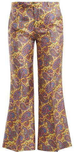 Etro Dorado paisley-print kick-flare silk trousers