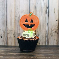 Pumpkin Cupcake Topper ONLY ITH Embroidery Design
