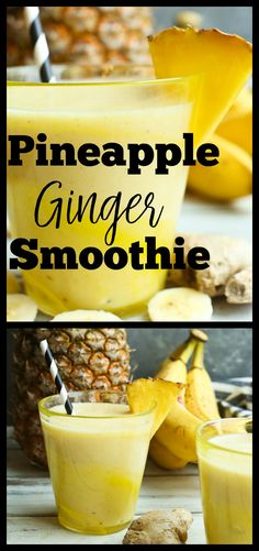 Pineapple Smoothie Recipe 2 cups fresh pineapple chunks 1 banana 1 heaping teaspoon fresh peeled and chopped ginger cup canned coconut milk cup cold water 1 teaspoon pure vanilla extract 1 cup ice Blend all together Pineapple Smoothie Recipes, Kiwi Smoothie, Ginger Smoothie, Smoothie Detox, Good Smoothies, Smoothie Drinks, Fruit Smoothies, Detox Drinks, Vegan Smoothies