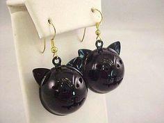 """Vtg Halloween Black Enamel Kitty Cat Jingle Bell Face 1"""" Diam Pierced Earrings"""