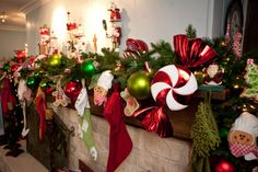 #Peppermint #Christmas #Mantle #Holiday Decorating #