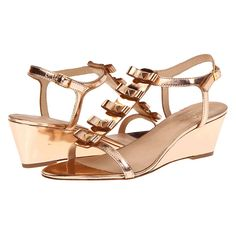 """Brides.com: Rose Gold Wedding Shoes. Kate Spade """"Darcey,"""" $248, available at Zappos  See more beach wedding accessories."""