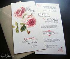 Invitație de nuntă vintage de lux, ilustrată cu trandafiri englezești roșii în acuarelă, monogramă antică și citat despre iubire. Textul este scris cu caractere victoriene și completat cu delicate ornamente vintage. Fett