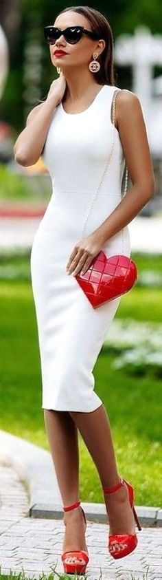Street Style - Amazing white dress with pretty red shoes and super cute red purse.