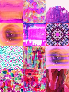 Amy Sia art work from top left: sunset, electrify, storm, encircle, dip dye hot pink, bali, watercolor ikat II, indian summer, encircle pink, wild eye pink, hibiscus dream, grenadine