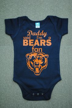 Chicago Bears Onesie or T-Shirt by madebylizi on Etsy https://www.etsy.com/listing/201414398/chicago-bears-onesie-or-t-shirt