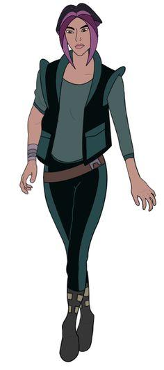 Drew Barrymore voicing Akima, Titan AE// nice outfit n I love the purple n black hair