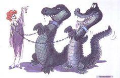 Disney Animation Ken Anderson The Rescuers Crocodile Illustration, Ken Anderson, Pop Art Drawing, Pixar Characters, Disney Artwork, Disney Artists, Disney Concept Art, Disney Villains, Disney Animation