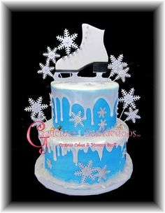 This cake was for a 10 year old girl who's having an ice skating party for her birthday. The decorations are all fondant with tylose, the melting snow effect is melted fondant (slightly cooled) and drizzled from a paper piping back. (easier to. 10th Birthday Cakes For Girls, Novelty Birthday Cakes, Themed Birthday Cakes, Novelty Cakes, Themed Cakes, 12th Birthday, Frozen Birthday, Ice Skating Cake, Ice Skating Party