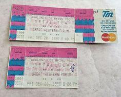 2 Metallica Concert Tickets 1 Untorn and 1 Stub Great Western Forum Dec 20 1996