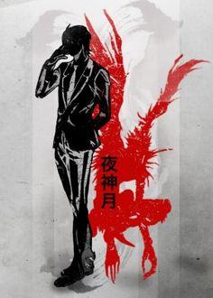 death note yagami ink inking japanese japan red crimson l ryuk evil pad book kill kira light tie suit apple shinigami god anime manga china watercolour black simple fanfreak fan art space power delect strong smart genius character killer murder mis misa n near tokyo