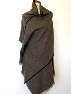 Blanket Scarf - Olive Green Herringbone Wool Tweed Large Scarf Winter Shawl Poncho - Mens Accessories Scarf Gift Unisex - Made in England by CardamomClothing on Etsy