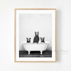 3 Bears Bathtub 3 Bear Cubs Taking a Bath Bathroom Art Bear Bathroom Wall Art, Bathroom Humor, Downstairs Bathroom, White Bathroom, Bathroom Prints, Master Bathrooms, Bathroom Inspo, Washroom, Bathroom Ideas