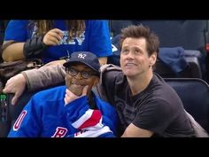 Jim Carrey and Spike Lee Goofing Around at the Philadelphia Flyers vs New York Rangers Hockey Game