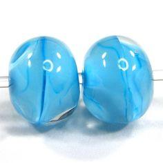 Blue Skies Handmade Lampwork Beads Clear Glass Matrix Earring Pair SRA | Covergirlbeads - Jewelry on ArtFire