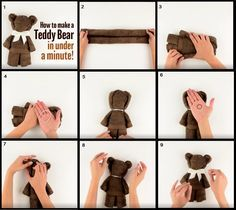 make a teddy bear from a hand towel or rag
