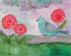 Bird Art small painting  floral painting choose by BrightBoldArt