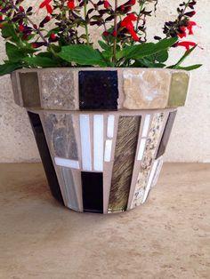 Indoor planter mosaic flower pot outdoor patio rustic