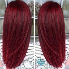 Details of the red hair color and shadows that you will not find about - rote Frisuren Hair Color And Cut, Haircut And Color, Deep Red Hair Color, Wine Red Hair Color, Dark Red Hair Dye, Bright Red Hair Dye, Fall Red Hair, Vibrant Red Hair, Hair Color 2018