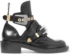 Balenciaga - Cutout Glossed-leather Ankle Boots - Black