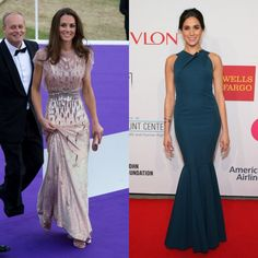 Dressed up  When it comes to galas and benefits, the Princes' ladies loves clean up nicely. Kate dazzled at the ARK 10th Anniversary Gala Dinner wearing a rosé Jenny Packham frock, while Meghan wore a teal halter gown to the Elton John AIDS Foundation's 13th Annual An Enduring Vision Benefit.