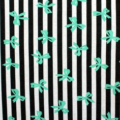 Tiffany Blue Bows on Black Vertical Stripe Cotton Spandex Knit Fabric :: $6.50