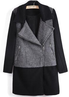 Black Contrast Grey Panel Lapel Wool Blend Coat 0.00