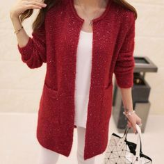 New Winter Women Casual Long Sleeve Knitted Cardigans 2016 Autumn Crochet Ladies Sweaters Fashion Tricotado Cardigan Top Quality