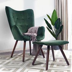 Fabric Ottoman, Chair Fabric, Chair And Ottoman, Armchair, Velvet Wingback Chair, Velvet Accent Chair, Accent Chairs, Velvet Lounge, Strandmon Chair