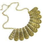 Victorian Style Gold Tone Feather Fan Statement Necklace $16.00