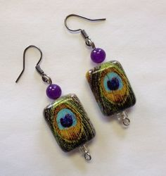 Turquoise Peacock Classic Earrings by StarBoundWestern on Etsy handmade vintage style gypsy soul country western Victorian burlesque painted feather natural stone Etsy Handmade, Handmade Gifts, Peacock Earrings, Feather Painting, Purple Teal, Vintage Fashion, Vintage Style, Crochet Earrings, Amethyst