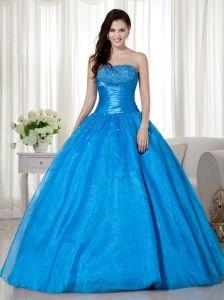 Sky Blue Ball Gown Strapless Floor-length Taffeta  Beading Quinceanera Dress