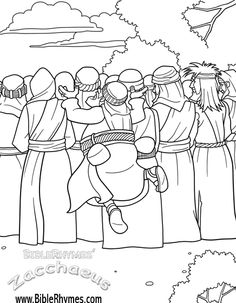 This picture of Zacchaeus jumping to see, from the BibleRhymes' Zacchaeus Bible story coloring book, is in black and white, for people to print and color. Kindergarten Sunday School, Sunday School Kids, Sunday School Crafts, Bible Story Crafts, Bible Stories For Kids, Bible School Crafts, Kids Church Lessons, Bible Lessons For Kids, Bible For Kids