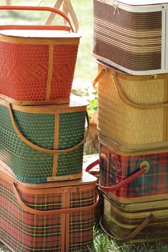 Colorful vintage picnic basket collection