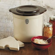 CHEFS Catalog   Ohio Stoneware Fermentation Crock Starter Kit, 2 Gallon - Canning & Preserving