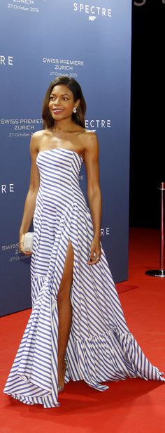 Spectre star: Naomie Harris wears a new Spring '16 Ralph Lauren runway look on the red carpet for the Zurich premiere of the newest James Bond film