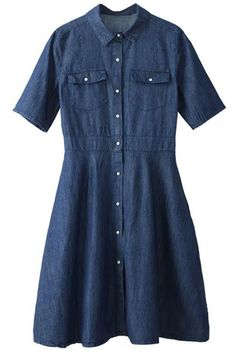 Preppy Style Denim Dress