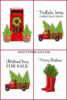 Use these free farmhouse Christmas printables for DIY wall art, cards, crafts, banners & more! Free digital download. Red rain boots Christmas printable, red door with wreath Christmas printable, red truck with Christmas trees printable. #christmas #christmasprintable #freeprintable via @adrake606
