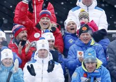 Norwegian and Swedish royals cheering at the Nordic World Ski Championships in Falun, Sweden